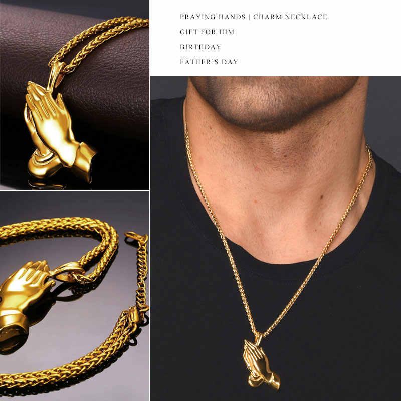 U7 marki modlący się ręce wisiorki i naszyjniki brat prezent czarny/złoty kolor ze stali nierdzewnej Hip Hop mężczyźni łańcuch biżuteria P927