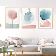 Nordic Abstract Watercolor Geometric Nursery Canvas Paintings Blue And Pink Circle Posters Print Wall Art Pictures Bedroom Decor