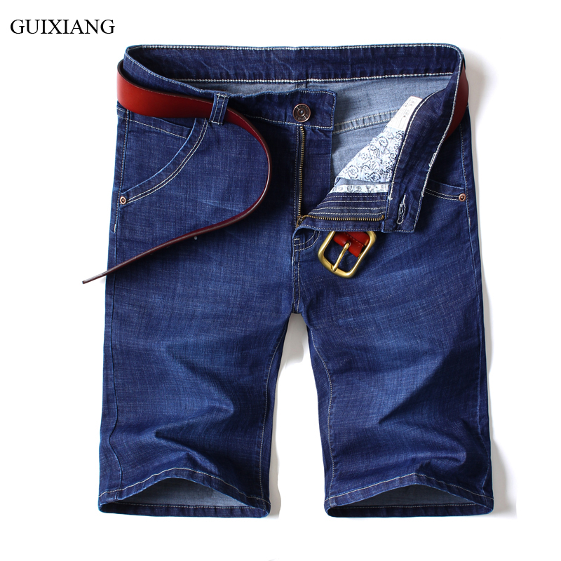 2018 new summer style men boutique denim jeans short fashion casual solid mid waist straight plus size men jeans pants 28-40
