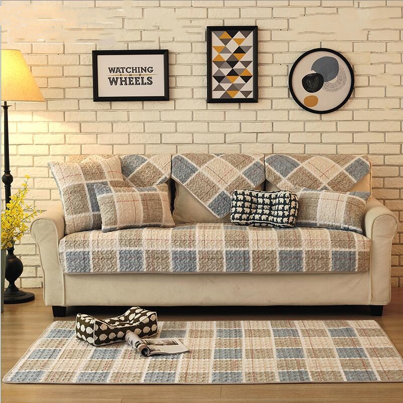 1 Piece Cotton Sofa Cover Beige Plaid Sofa Slipcover Couch