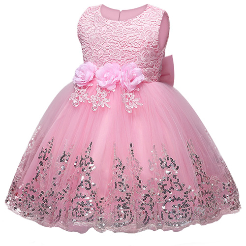 Baby Kids Sequins Princess Dress Embroidery Flower Girls Lace Dress Children Party Wedding Girls Prom Dress for Dance Ball girls embroidery detail contrast lace hem dress