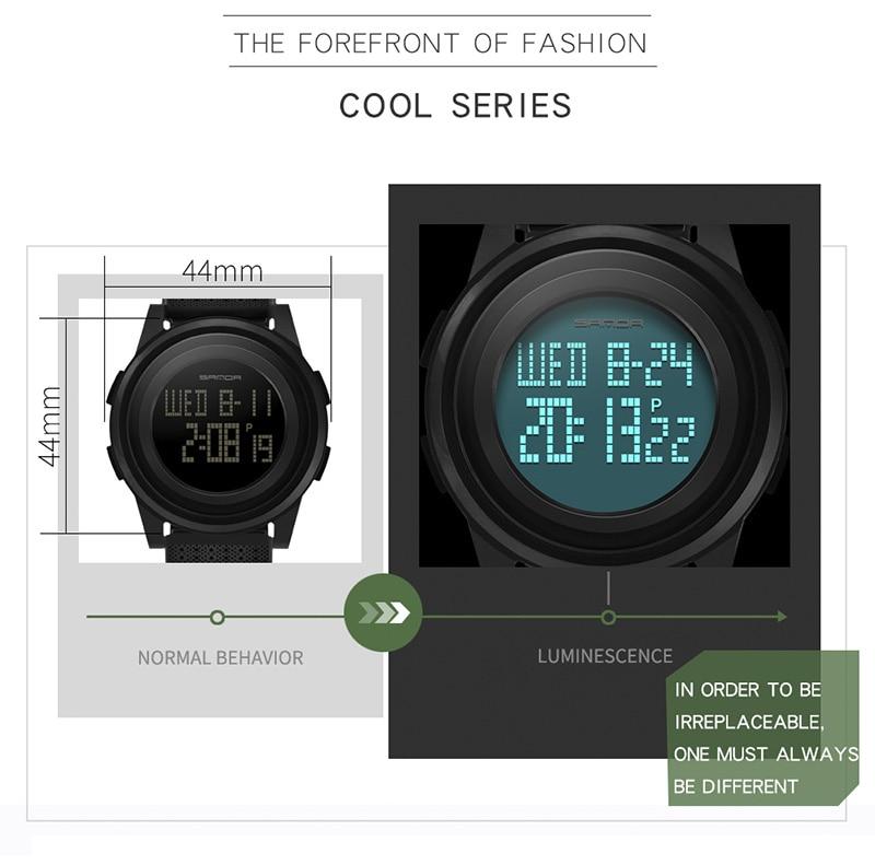 2018 Sanda Brand Sport Watch Men Luxury Electronic LED Digital Wrist Watches For Men Male 9mm Super Slim Clock Relogio Masculi 7