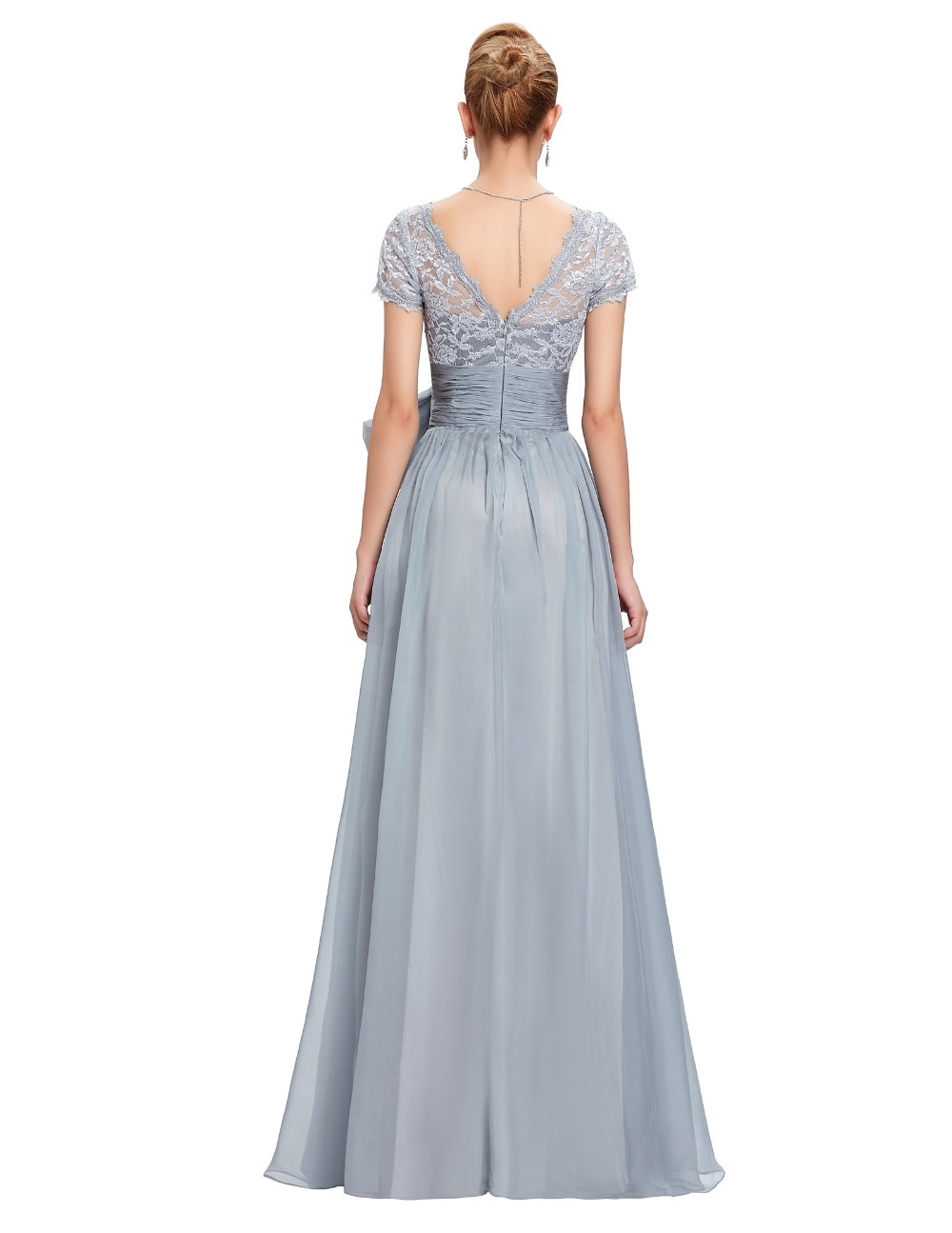 Grace Karin Chiffon Lace Elegant Long Evening Dresses Grey Formal Evening Gowns robe de soiree longue GK4445 10