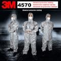 3 M 4570 originele Grijs Hooded Beschermende Overall High-performance Chemische Beschermende Pak Chemische Jets Sprays Veiligheid pak