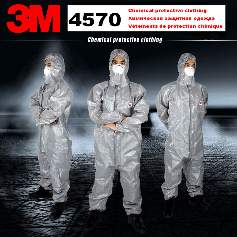 3M 4570 original Gray Hooded Protective Coverall High-performance Chemical Protective Suit Chemical Jets Sprays Safety suit3M 4570 original Gray Hooded Protective Coverall High-performance Chemical Protective Suit Chemical Jets Sprays Safety suit
