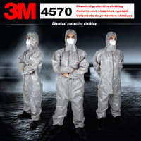 3M 4570 original Gray Hooded Protective Coverall High performance Chemical Protective Suit Chemical Jets Sprays Safety suit