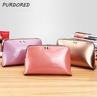 PURDORED 1 шт. твердая косметическая сумка из лаковой кожи, на молнии, косметичка, сумка Для женщин, косметичка для путешествий, сумка для макияжа...