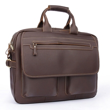 hot new genuine light gentleman cowhide leather briefcases dress man's business travel work hand solid soft pad laptop tote bags
