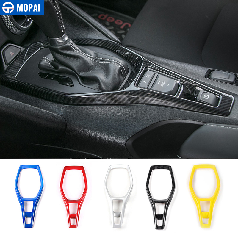 MOPAI ABS Car Gears Panel Shift Decoration Trim Cover Stickers for Chevrolet Camaro 2017 Up Interior Accessories Car Styling shineka abs 4 colors auto door interior decoration trim for chevrolet camaro 2017 car styling accessories