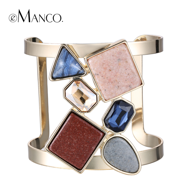 Crystal stone bangle metal cuff bangles for women 2015 new natural stone wide copper bangle brazaletes pulseras mujer eManco