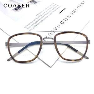 Image 4 - Gafas de titanio para hombre, lentes con montura de marca de Dinamarca, diseño Vintage, redondas, graduadas, para miopía, de metal