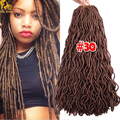 24'' Wavy Faux Locs Dreadlocks Braids Hair 100g Goddess Locs Crochet Hair Extensions Synthetic Havama Mambo Faux Locs Styles