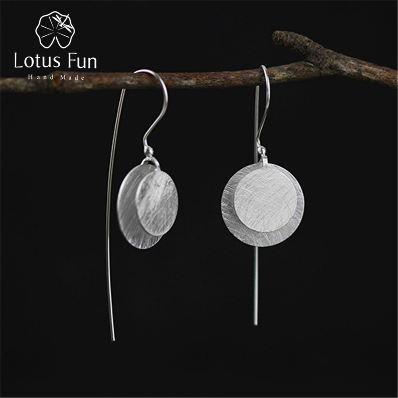 Lotus Fun Real 925 Sterling Silver Natural Original Handmade Fine Jewelry Vintage Round Fashion Drop Earrings for Women BrincosLotus Fun Real 925 Sterling Silver Natural Original Handmade Fine Jewelry Vintage Round Fashion Drop Earrings for Women Brincos