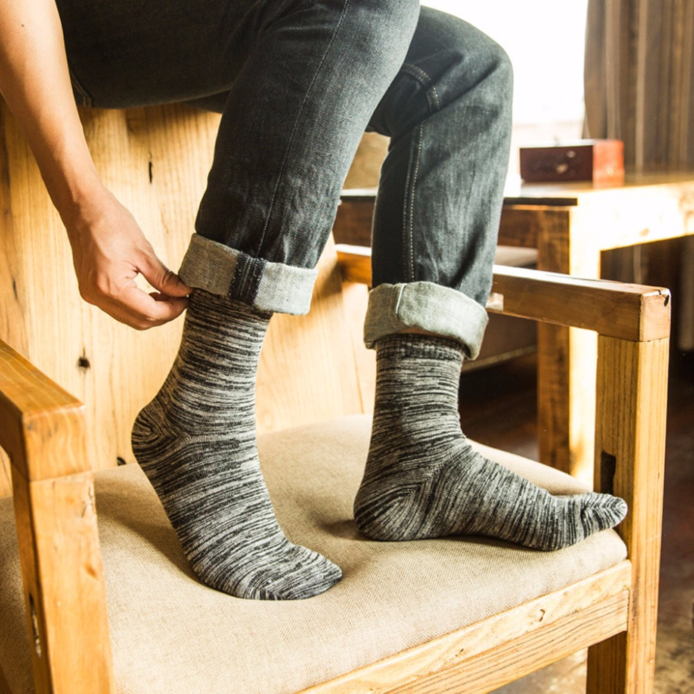 Mens Boy Woolen Winter Warm Multi Geometric Solid Stripes Print Long Crew Socks