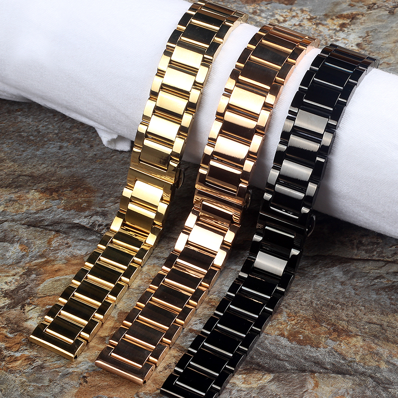 18MM 20MM 21MM 22MM 24MM Stainless Steel Watchbands silvery Golden Rose gold Men Metal Polished watch bracelets Watch Strap Band