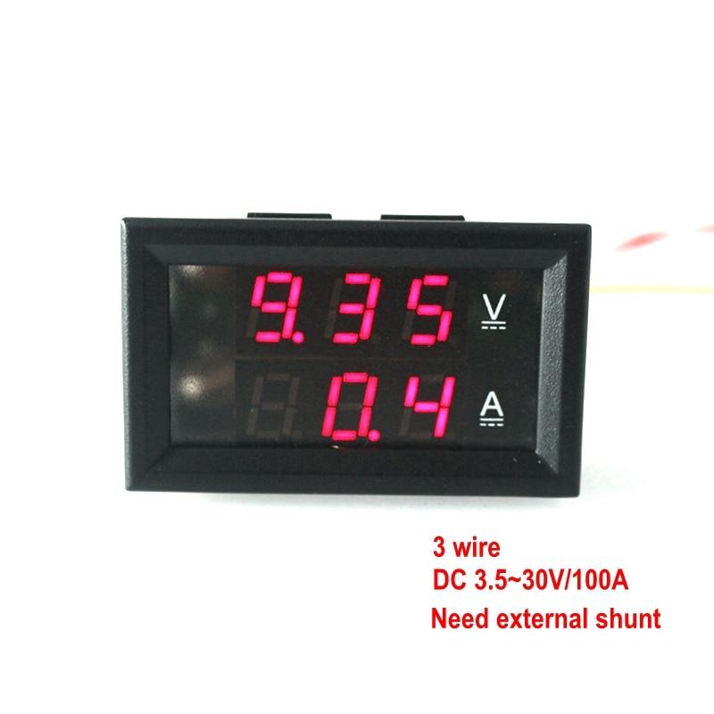 Digital three wire DC 4.5 30 V/100A Ammeter Voltmeter Volt Ampere ...