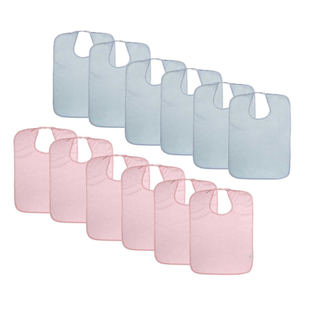 12 個大人テリータオル食事時間布よだれかけプロテクターエプロン防水再利用可能なウォッシャブル