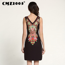 Hot Sale New Women's Apparel High-Quality print Sleeveless V-Neck Fashion Novelty Sexy Summer Dress Personality Dresses 71130