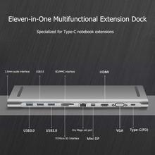 Aluminum 11in1 Multi USB C HUB for Macbook Pro Type-C to USB3.0 TF HDMI VGA RJ45 Mini DP Docking Station Adapter MacBook