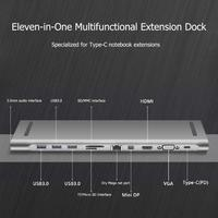 Aluminum 11in1 Multi USB C HUB for Macbook Pro Type C to USB3.0 TF HDMI VGA RJ45 Mini DP Docking Station Adapter for MacBook