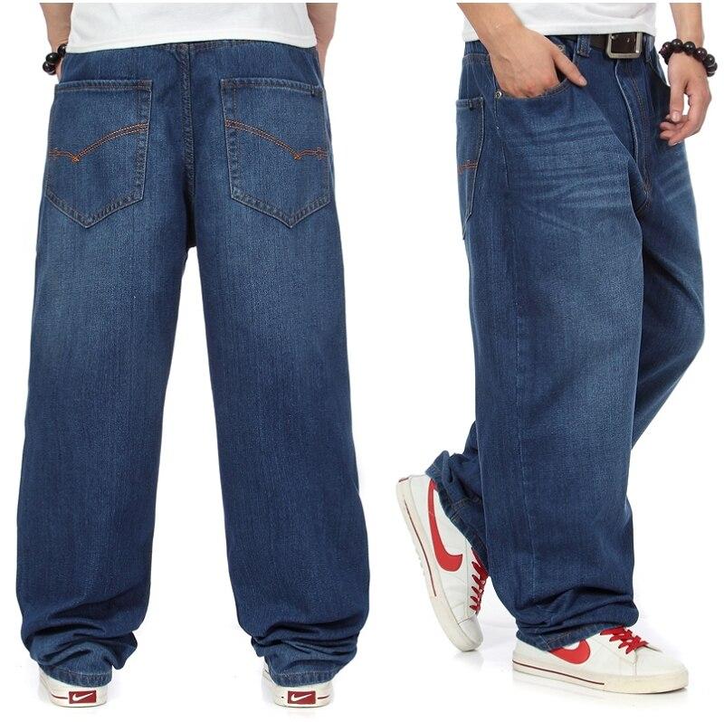 ФОТО New Brands Men Cotton Loose Fit Straight Long Jeans Men Hip Hop Designer Baggy Jeans Denim Pants Plus Size 38 40 42 44 46