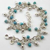 Silver Sky Blue LARIMAR Handcrafted Bracelet 8 ! Handmade Jewelry