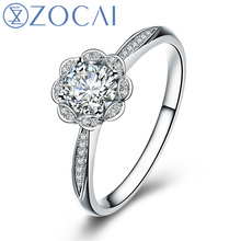 ZOCAI BRAND FLOWER NATURAL REAL 0.35 CT CERTIFIED I-J/ SI DIAMOND ENGAGEMENT RING ROUND CUT 18K WHITE GOLD  W01658