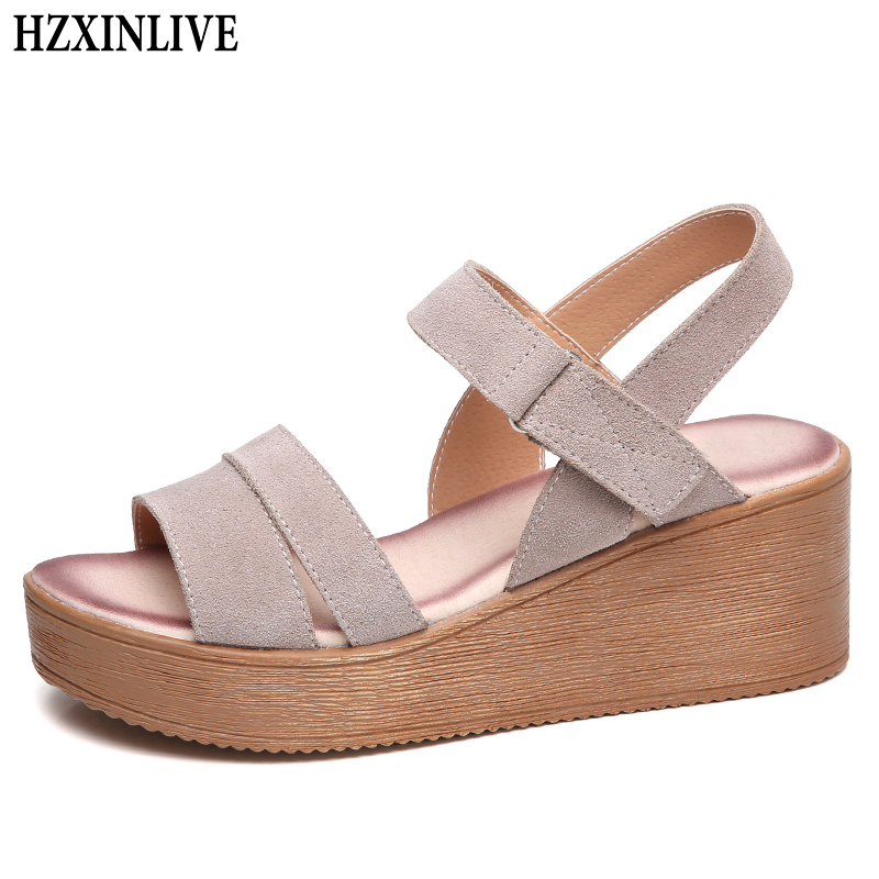 HZXINLIVE 2018 Fashion Summer Sandals Women 6 cm High Wedges Heel Sandals Ladies Platform Sandalias Mujer Female Casual Shoes facndinll new women summer sandals 2018 ladies summer wedges high heel fashion casual leather sandals platform date party shoes
