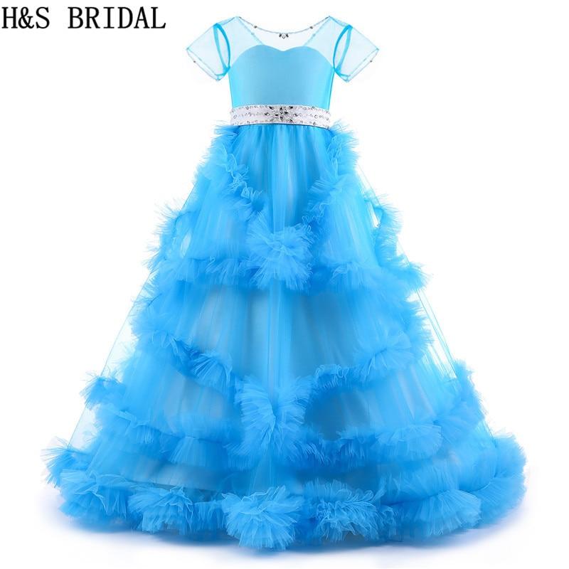 H & S robes de mariée à fleurs pour les mariages robes de communion bleues pour les filles robes de soirée 2019 robe de demoiselle d'honneur