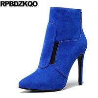 синий обувь сексуальный мех замша на каблуке экстремальный батильоны роскошь фетиш элегантный ботильоны Женские ботинки зима 2017 овчина ос