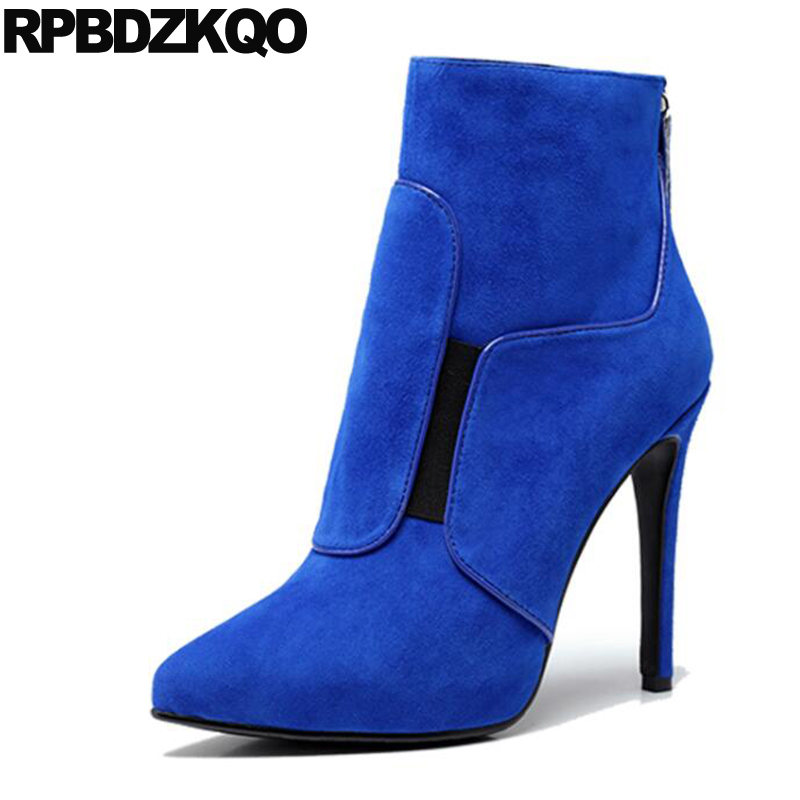 Blue Shoes <font><b>Sexy</b></font> Fur Suede <font><b>High</b></font> <font><b>Heel</b></font> <font><b>Extreme</b></font> Booties Luxury <font><b>Fetish</b></font> Elegant Ankle Women <font><b>Boots</b></font> Winter 2017 Sheepskin Pointed Toe image