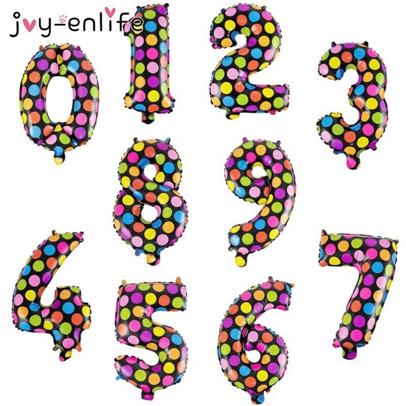 JOY-ENLIFE 1pcs Multi Colored Polka Dot Digital 0-9 Aluminum Balloons Kids Party Decor Birthday Party Wedding Decor Supplies