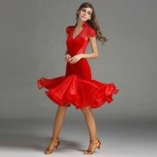 woman professional black/red velvet fringed Latin dance set top and skirt Perspective stitching rumba/samba dance costume