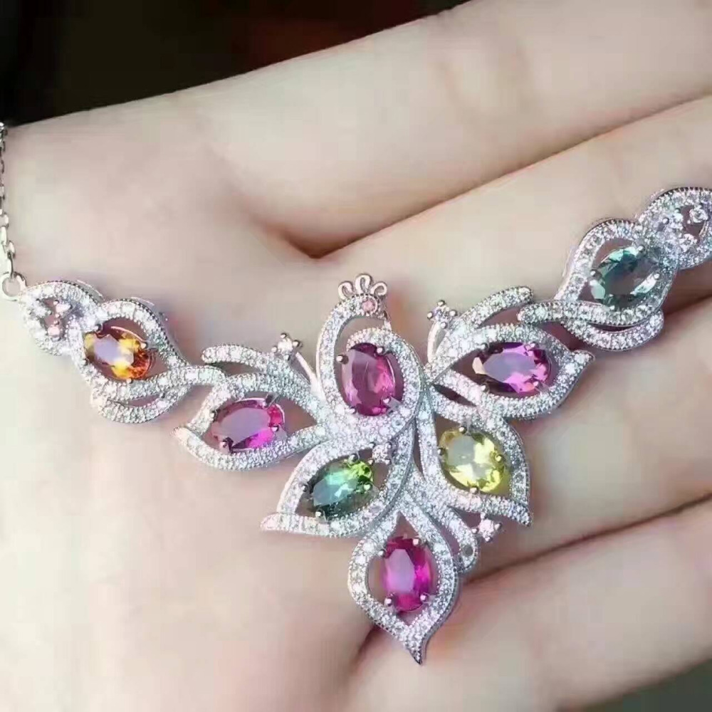 Natural multicolor Tourmaline Necklace natural gemstone Pendant Necklace S925 silver trendy Elegant Phoenix women party Jewelry natural tourmaline pendant s925 silver natural gemstone pendant necklace elegant friendship boat lucky women girl gift jewelry