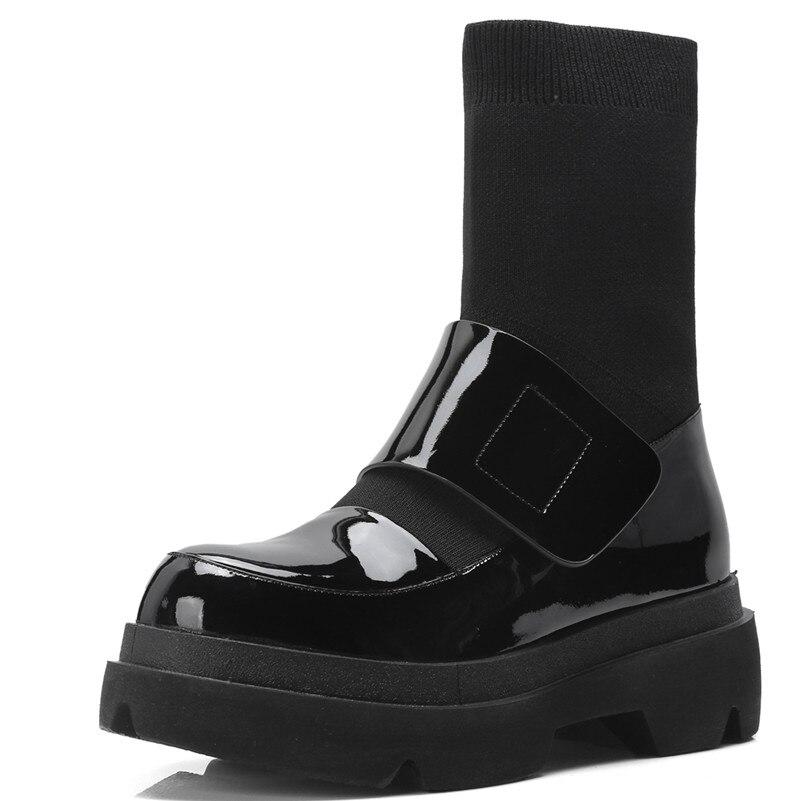 Ayakk.'ten Diz Altı Çizmeler'de FEDONAS Yeni Kadın Orta Buzağı Botları Sonbahar Kış sıcak Yüksek Topuklu Ayakkabılar Kadın Hakiki Deri Rahat Kaliteli Marka Streç çizmeler'da  Grup 2