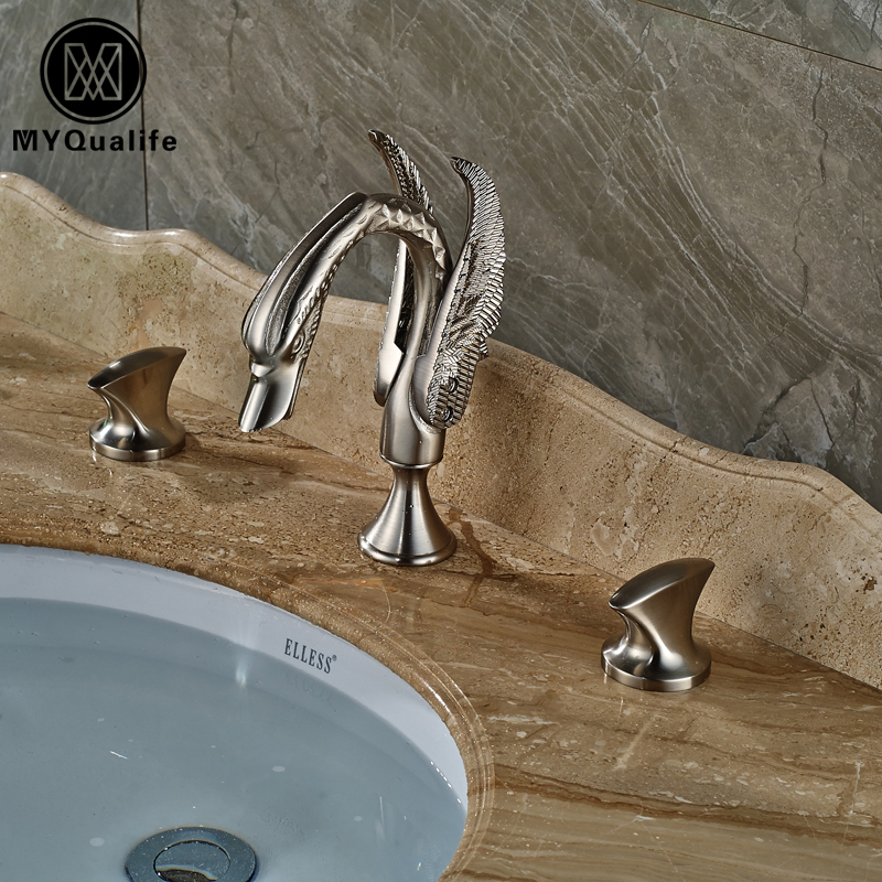 Luxury Swan Washbasin Faucet Widespread Deck Mounted Bathroom Sink Mixer Taps Dual Handle Brushed Nickel Finished deck mounted 5pcs widespread bathroom tub faucet with hand shower nickel brushed finished