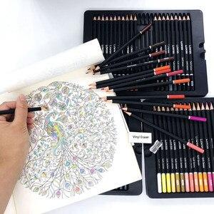Image 4 - 72 أقلام رصاص ملونة مع صندوق حديد مجموعة أقلام رصاص نابضة بالحياة تأثيرات خلط جميلة رسم فني رسم تظليل تلوين قلم رصاص هدية