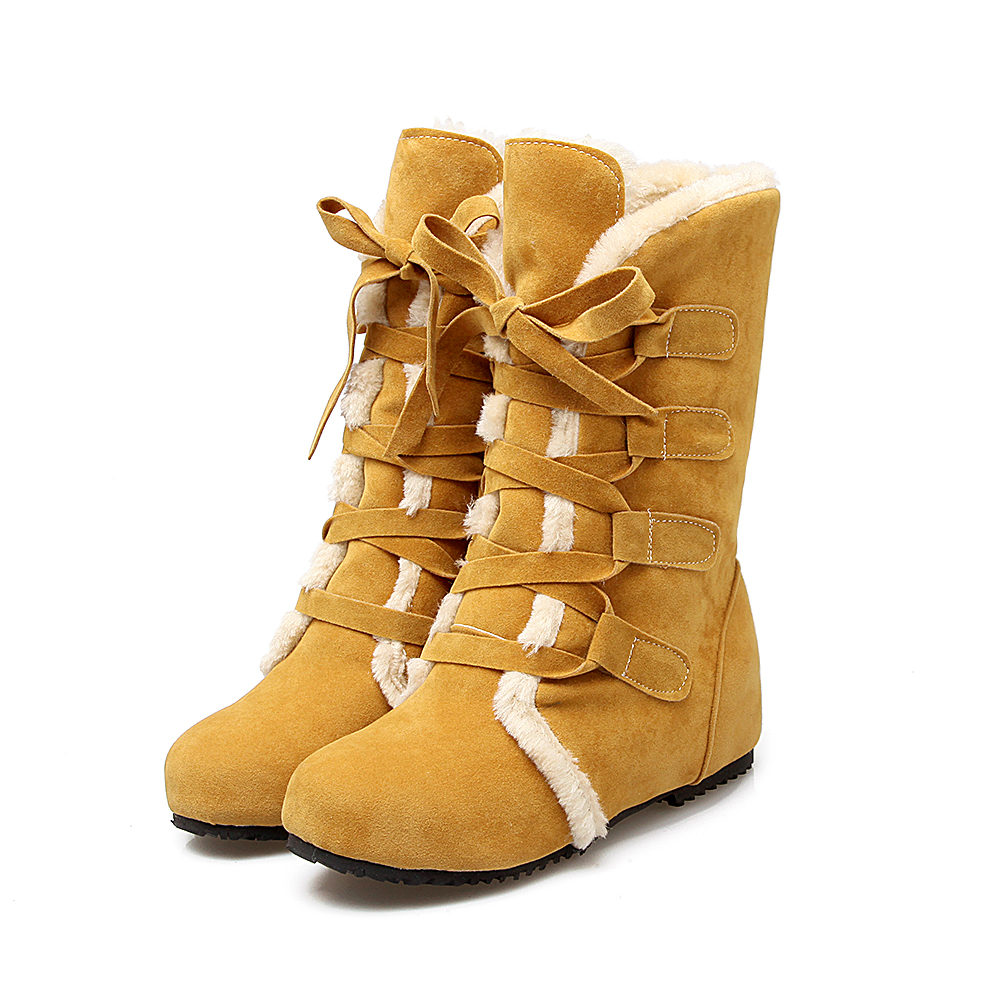 2017 New Snow Boots Russia Warm Large Size 34-52 Women Boots High Quality Thick Snow Patent Winter Shoes Woman Middle Boot 509