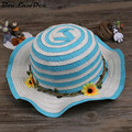 BooLawDee Girl children summer large brim straw sun hat 52cm floral decoration patchwork color casual wear 4C020