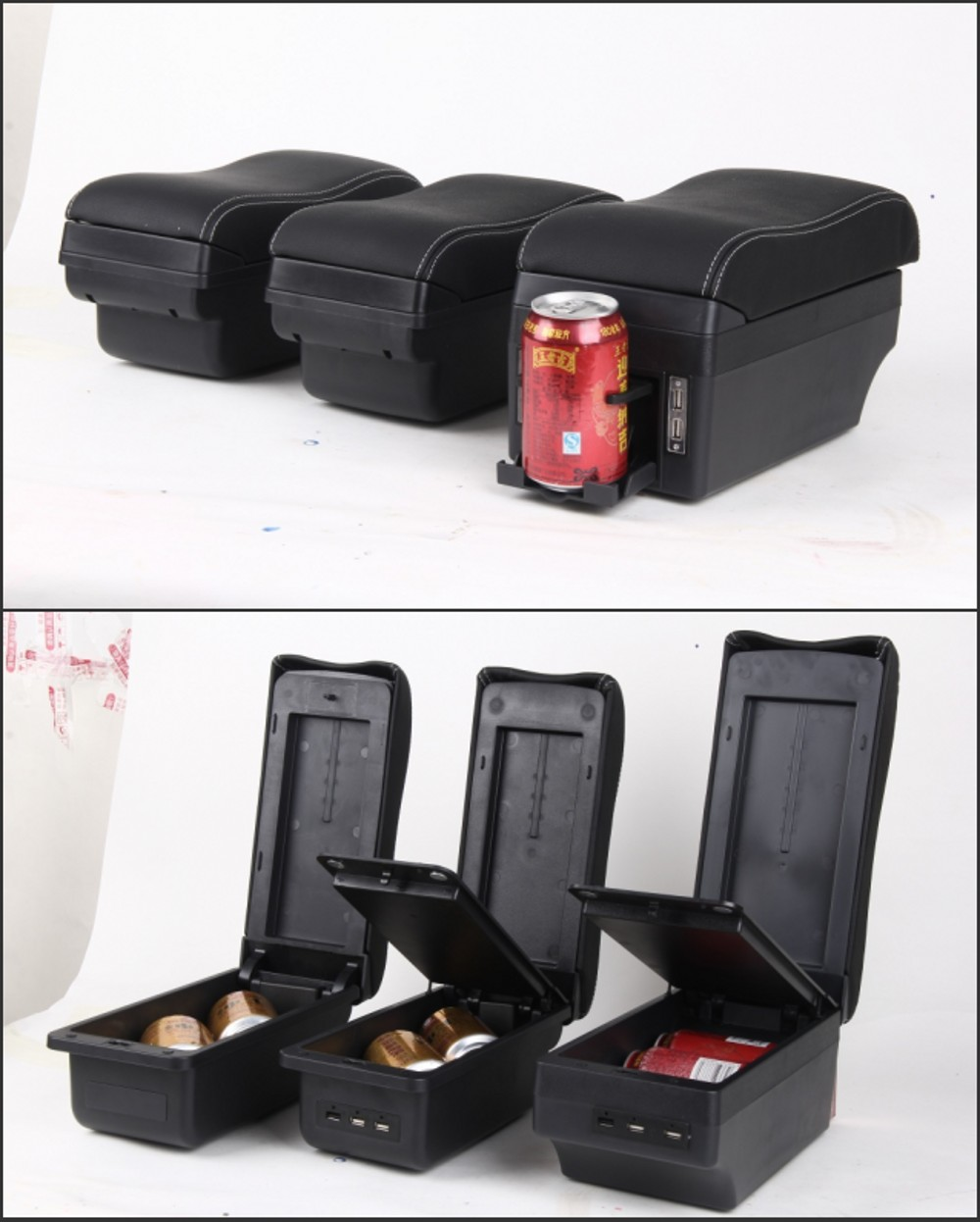 Image 5 - For Opel Corsa Armrest box central Store content Opel Corsa armrest box with cup holder ashtray with USB interface-in Armrests from Automobiles & Motorcycles