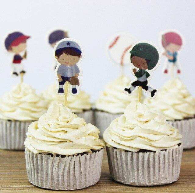 24 Piezas De Béisbol De Dibujos Animados Niños Cupcake Toppers De