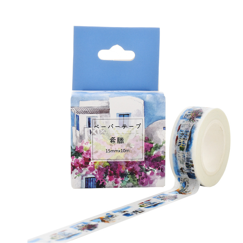 Greece Washi Tape Vintage Ticket DIY Decorative Scrapbooking Masking Tape Adhesive Washi Tape Set Label Sticker 10m*15mm JD95-9
