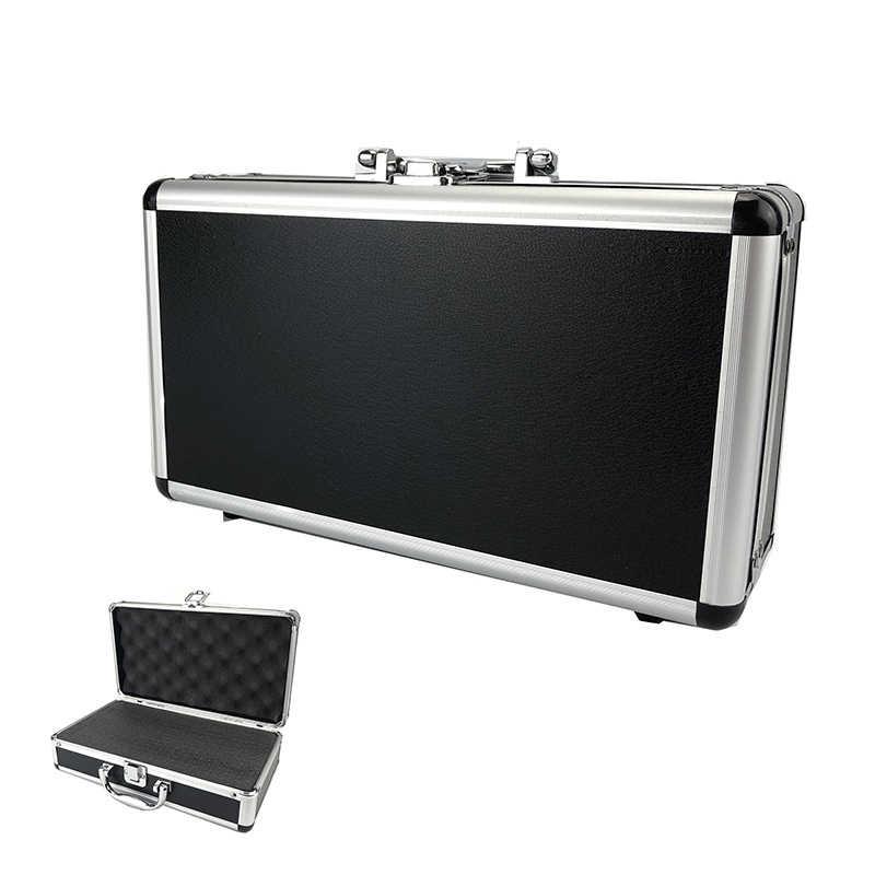 300*170*95mm Aluminium Gereedschapskist Draagbare Instrument Box Storage Case Koffer Reizen Bagage Organizer Case W voering Alleen Zwart