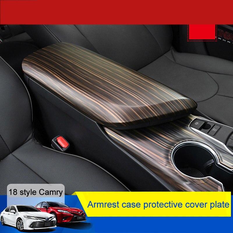 QHCP углеродного волокна автомобиль Стайлинг подлокотник коробка крышка Защитная крышка Shell интерьер ремонт Accessorries для Toyota Camry 2018