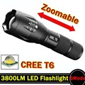 Lanterna LED 3800 Lumnes CREE XM-L T6 LED Tactical Flashlight Torch 5 Modo Zoomable Lanterna À Prova D' Água Luz Da Tocha lanternas