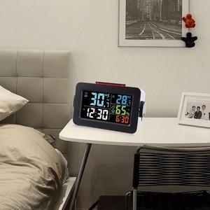 Image 2 - שעון מעורר חם אלחוטי דיגיטלי מדדי לחות מדחום אלחוטי טמפרטורה לחות צג עם תאורה אחורית T
