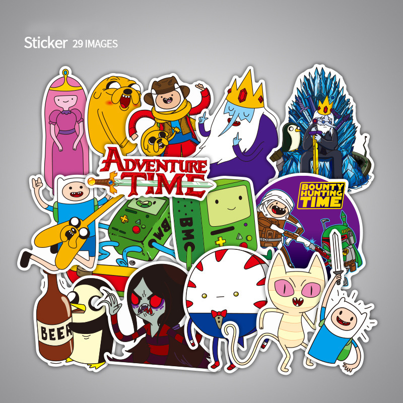 29pcs/Pack Adventure Time Cartoon Waterproof Stickers PVC For Luggage Wall Car Laptop Bicycle Motorcycle Laptop Cute Toys F4