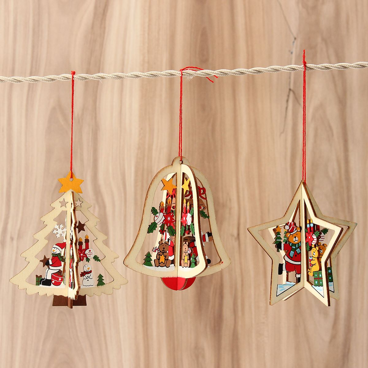 Online buy wholesale wooden christmas decorations from for Purchase christmas decorations