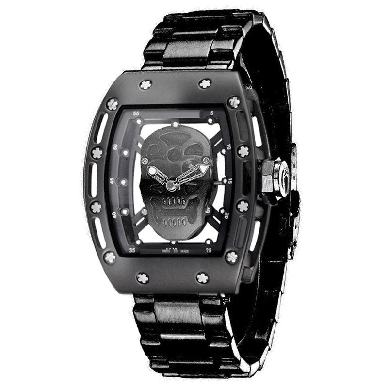2017 new brand Pirate Skull Watches Men Richard Style Quartz Military Steel Wrist Watch Men Sports