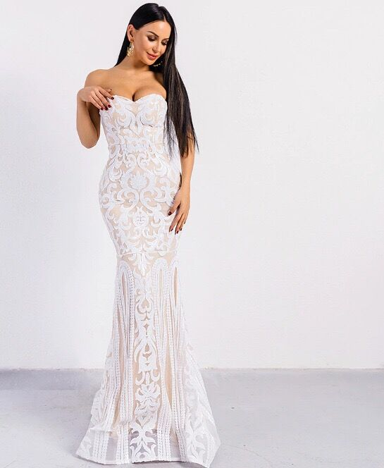 Sequined Long Dress Top Quality Sexy Strapless Sexy Night CLub Fashion Evening Party Dress Summer
